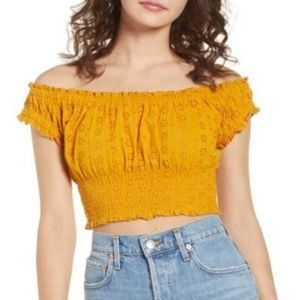 Ten Sixty Sherman Off-The-Shoulder Eyelet Crop Top
